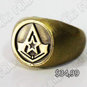 Anillo Videojuegos Assassins Creed, Bonita Apariencia, practico, Hermoso material Bronce niquelado, Color Dorado, Estado Nuevo