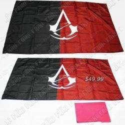 Banderín Videojuegos Assassins Creed, Bonita Apariencia, practico, Hermoso material Poliester, Color Negro y Rojo, Estado Nuevo