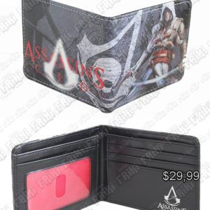Billetera Videojuegos Assassins Creed, Bonita Apariencia, practico, Hermoso material Cuerina, Color Negro y Rojo, Estado Nuevo