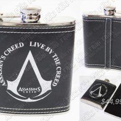 Cantimplora Videojuegos Assassins Creed, Bonita Apariencia, practico, Hermoso material Metalico, Color Blanco y negro, Estado Nuevo