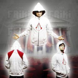 Chaqueta Videojuegos Assassins Creed, Bonita Apariencia, practico, Hermoso material Poliéster, Color Blanco y Rojo, Estado Nuevo