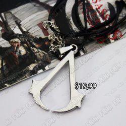 Collar Videojuegos Assassins Creed, Bonita Apariencia, practico, Hermoso material Bronce Niquelado, Color Plata, Estado Nuevo