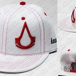 Gorra Videojuegos Assassins Creed, Bonita Apariencia, practico, Hermoso material Poliéster, Color Blanco y Rojo, Estado Nuevo