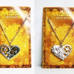 Collar Steampunk Corazón plateado con engranajes Ecuador Comprar Venden, Bonita Apariencia plateada, practica, Hermoso material bronce Color plateado Estado nuevo