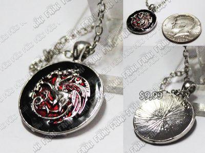 Collar Series Games of Thrones Targaryen Ecuador Comprar Venden, Bonita Apariencia perfecto para los fans de la serie, practica, Hermoso material de bronce niquelado Color rojo y negro Estado nuevo