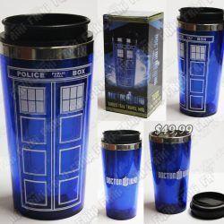 Termo Series Doctor Who TARDIS Ecuador Comprar Venden, Bonita Apariencia perfecta y útil para fans de la serie, practica, Hermoso material de aluminio Color azul Estado nuev