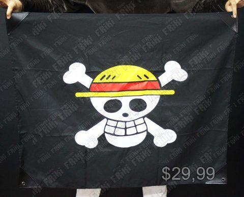 Bandera Pirata Anime One Piece Bonita Apariencia, practico, Hermoso material Poliester, Color Negro Estado Nuevo