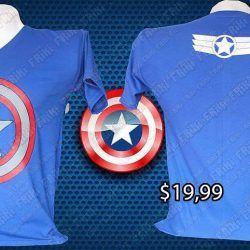 Camiseta Cómics Capitán América Ecuador Comprar Venden, Bonita Apariencia ideal para los fans, practica, Hermoso material de poliéster Color azul Estado nuevo