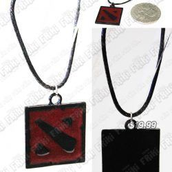 Collar Videojuegos Dota Logo Ecuador Comprar Venden, Bonita Apariencia ideal para los fans, practica, Hermoso material de bronce niquelado Color negro con rojo Estado nuevo