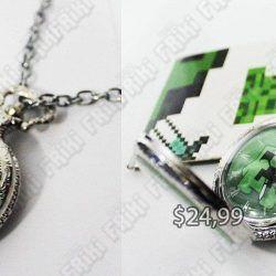 Reloj de Collar Videojuegos Minecraft Creeper Ecuador Comprar Venden, Bonita Apariencia ideal para los fans, practica, Hermoso material de bronce niquelado Color plateado Estado nuevo