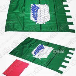Banderín Anime Shingeki no Kyojin, Bonita Apariencia, practico, Hermoso material Poliester, Color verde y azul, Estado Nuevo