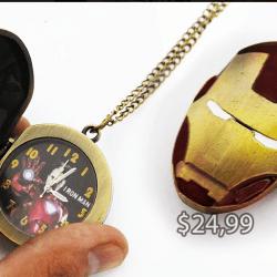 Reloj de Collar Cómics Ironman Ecuador Comprar Venden, Bonita Apariencia perfecta para parejas, practica, Hermoso material de bronce niquelado Color dorado y rojo Estado nuevo